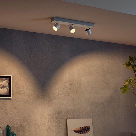 Kolmilamppuinen LED-Spot Star, WarmGlow, valkoinen