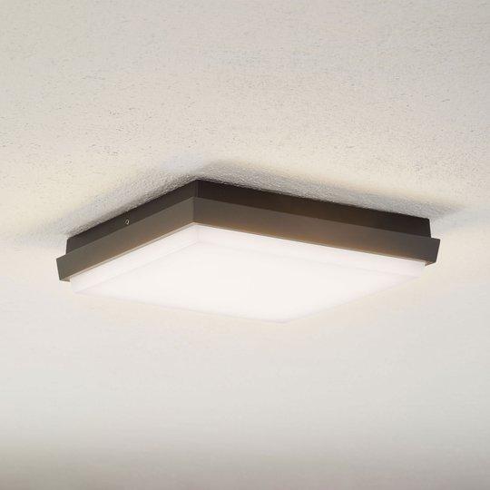 Lucande Amra -LED-ulkokattovalo, kulmikas 24 cm