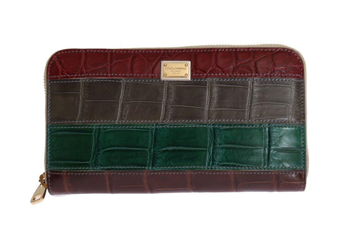 Dolce & Gabbana Women's Leather Crocodile Skin Wallet Multicolor VAS1226