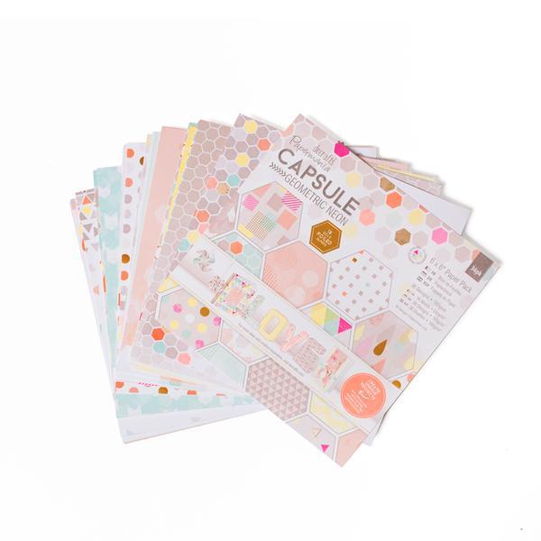 Papermania Capsule Paper Pack 6x6 Geometric Neon