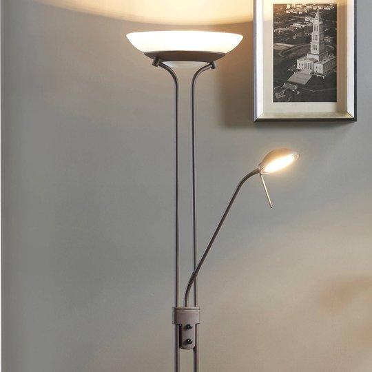 Yveta -rustfarget LED-uplight-gulvlampe med dimmer