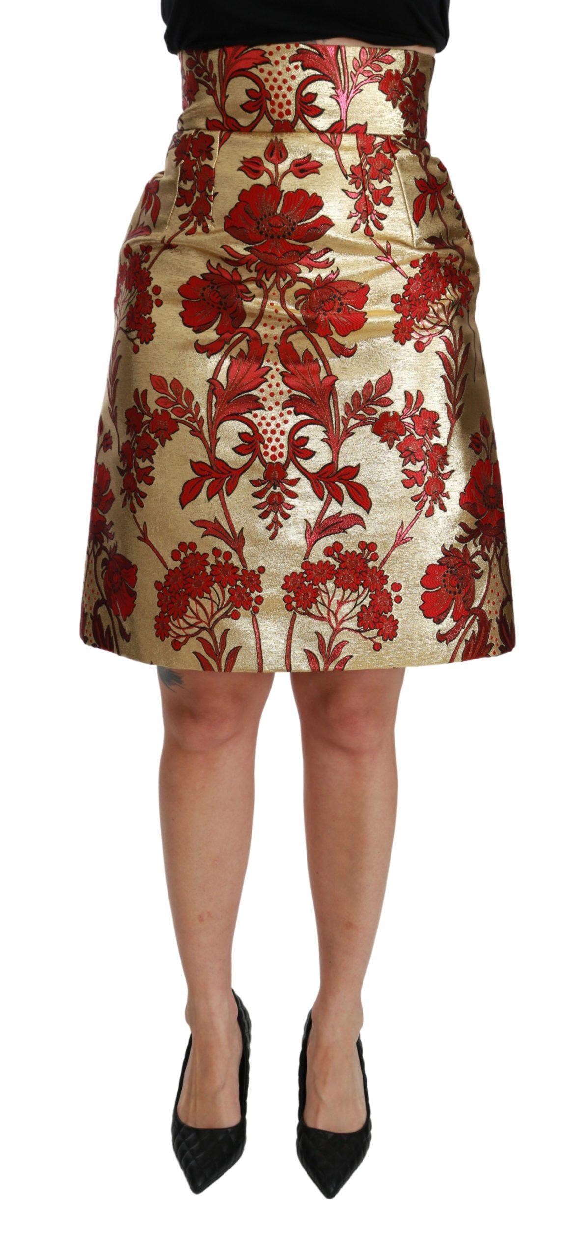 Dolce & Gabbana Women's Floral Jacquard High Waist Mini Skirt Gold SKI1417 - IT36   XS