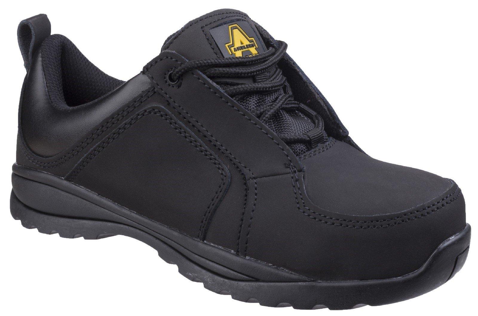Amblers Unisex Safety Metal Free Lace Up Trainer Black 20412 - Black 2
