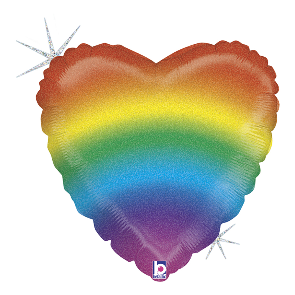 Folieballong Regnbåge Hjärta