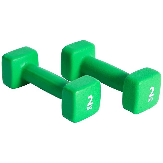vidaXL Hantelset 2x2 kg neopren grön