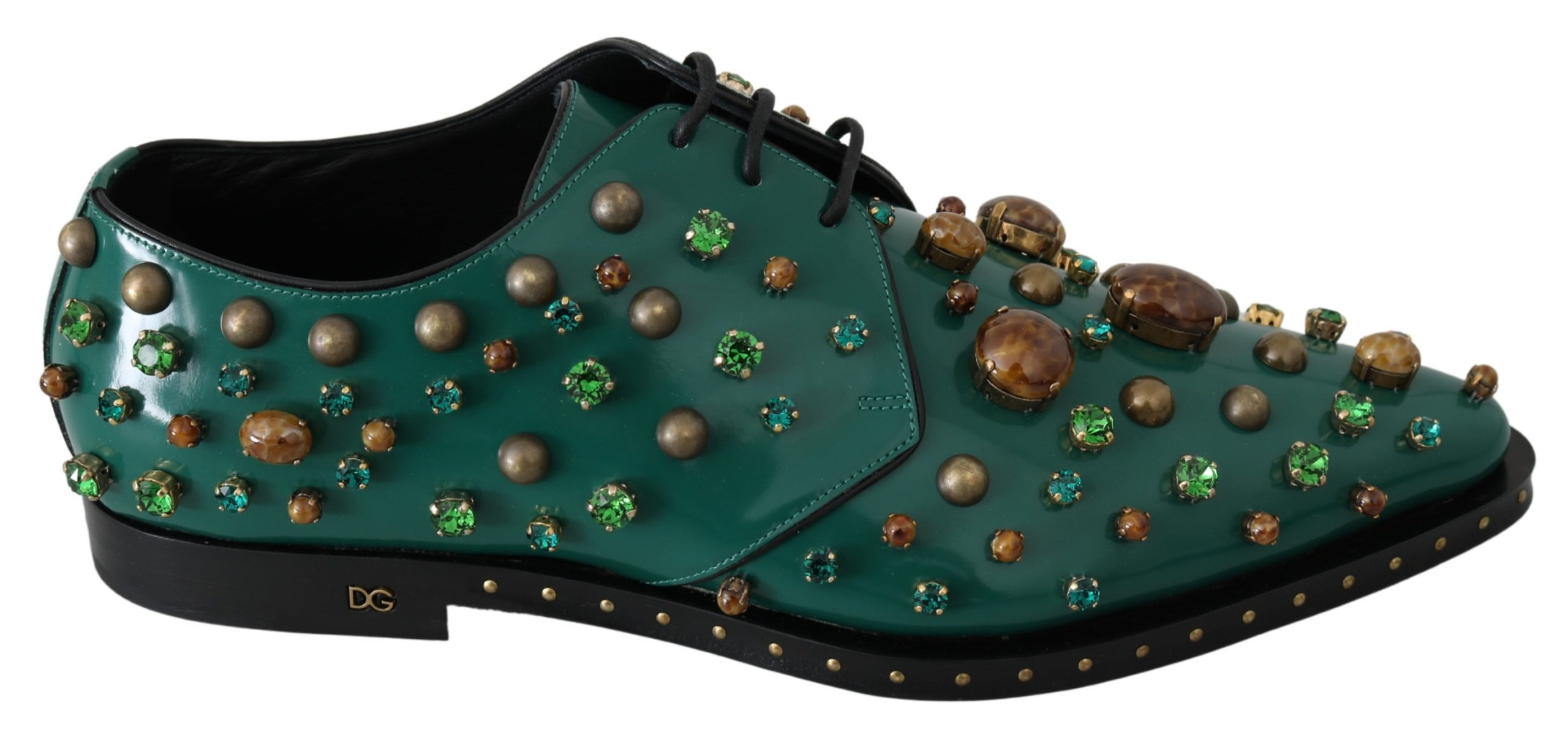 Dolce & Gabbana Women's Leather Crystal Dress Broque Shoe Green LA7212 - EU41/US10.5