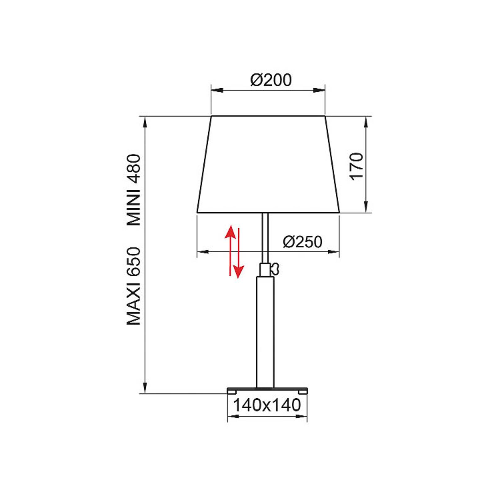 Aluminor Quatro Up-pöytälamppu, harmaa tammi/kromi