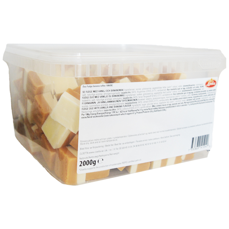 Hel Låda Godis Fudge Banan & Vanilj 2kg - 62% rabatt