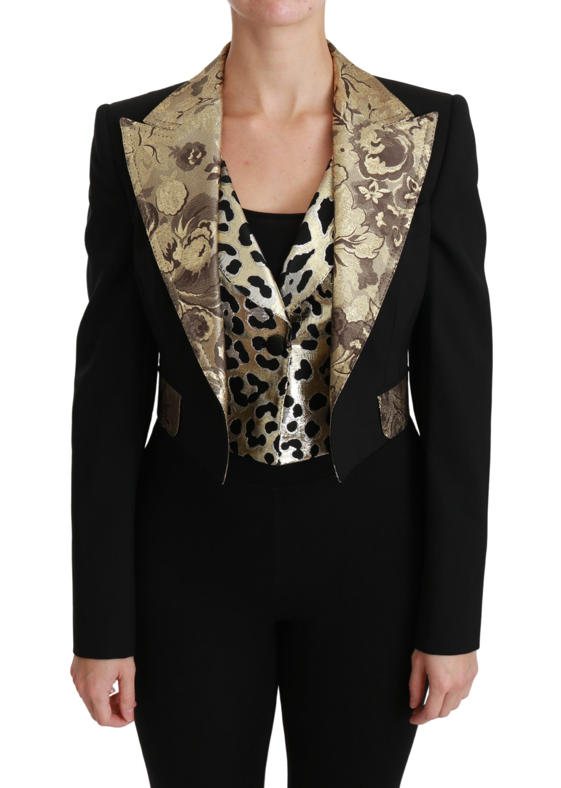 Dolce & Gabbana Women's Jacquard Wool Blazer Black JKT2561 - IT40|S