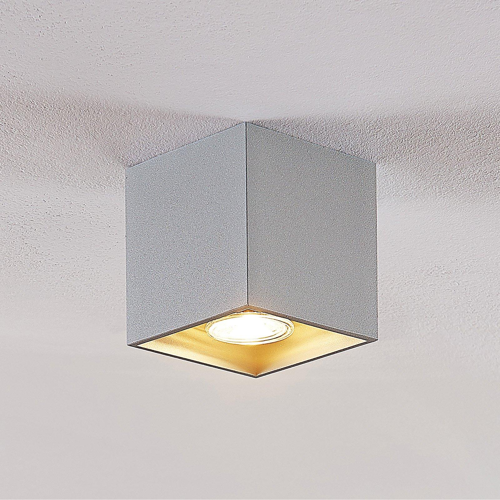 Lindby Parvin aluminum-downlight, kantet, grå