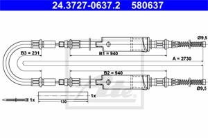 Vaijeri, käsijarru, Takana, FORD TRANSIT Buss, TRANSIT Flak/chassi, TRANSIT Skåp, TRANSIT TOURNEO Buss, 6658707