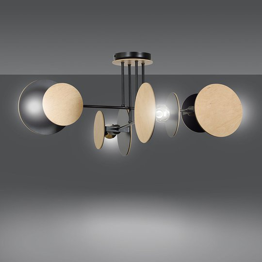 Taklampe Zita 4 i svart med tredekorasjon