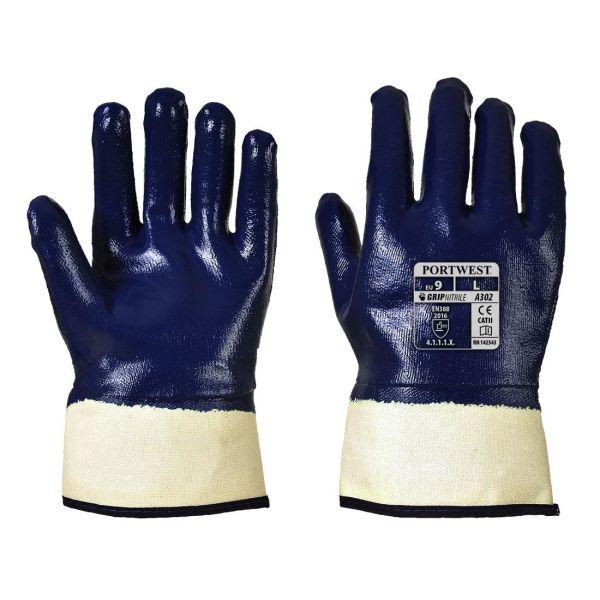 Portwest A302 Handske marinblå, heldoppad nitril M