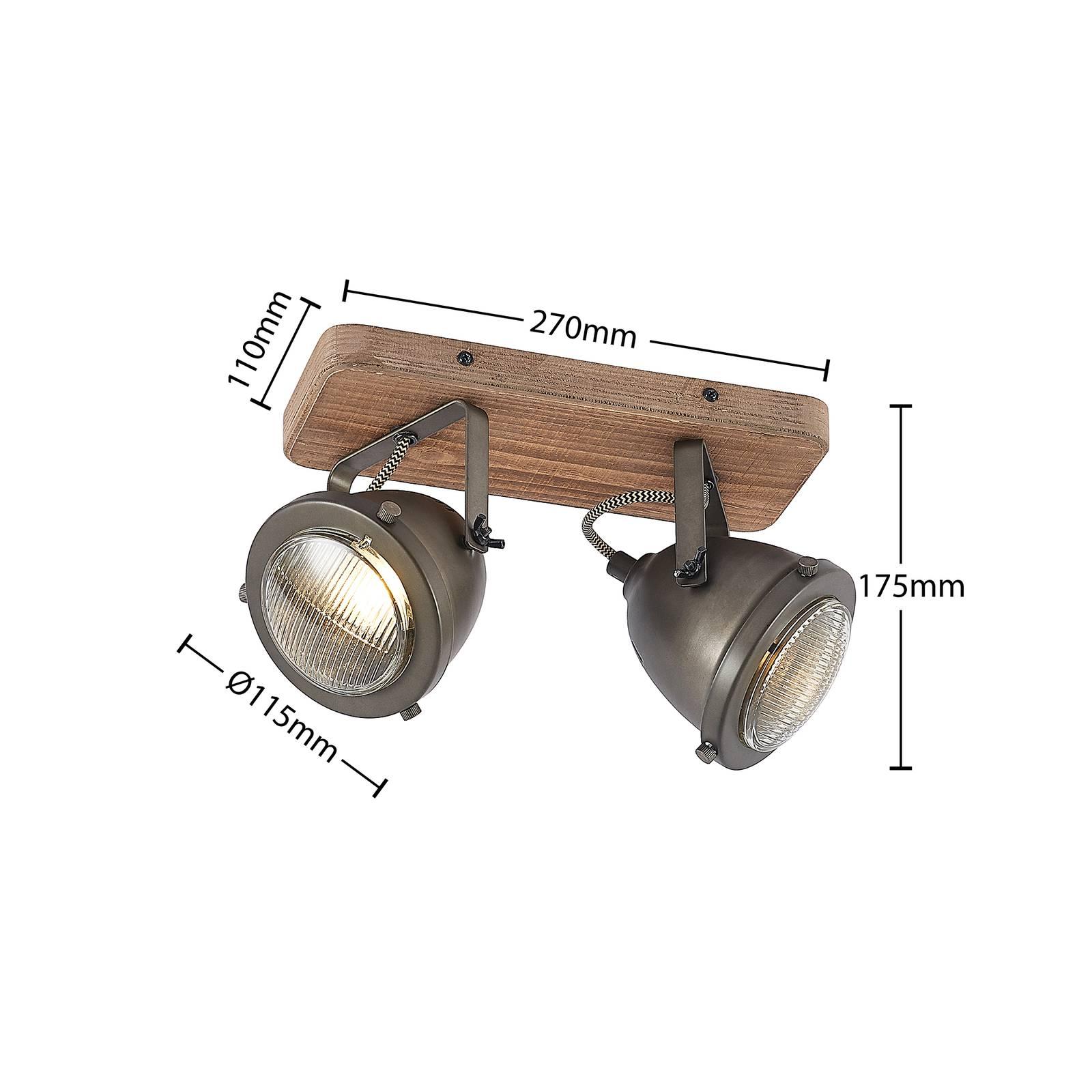 Lindby Farovi -kattokohdevalo musta 2-lamppuinen