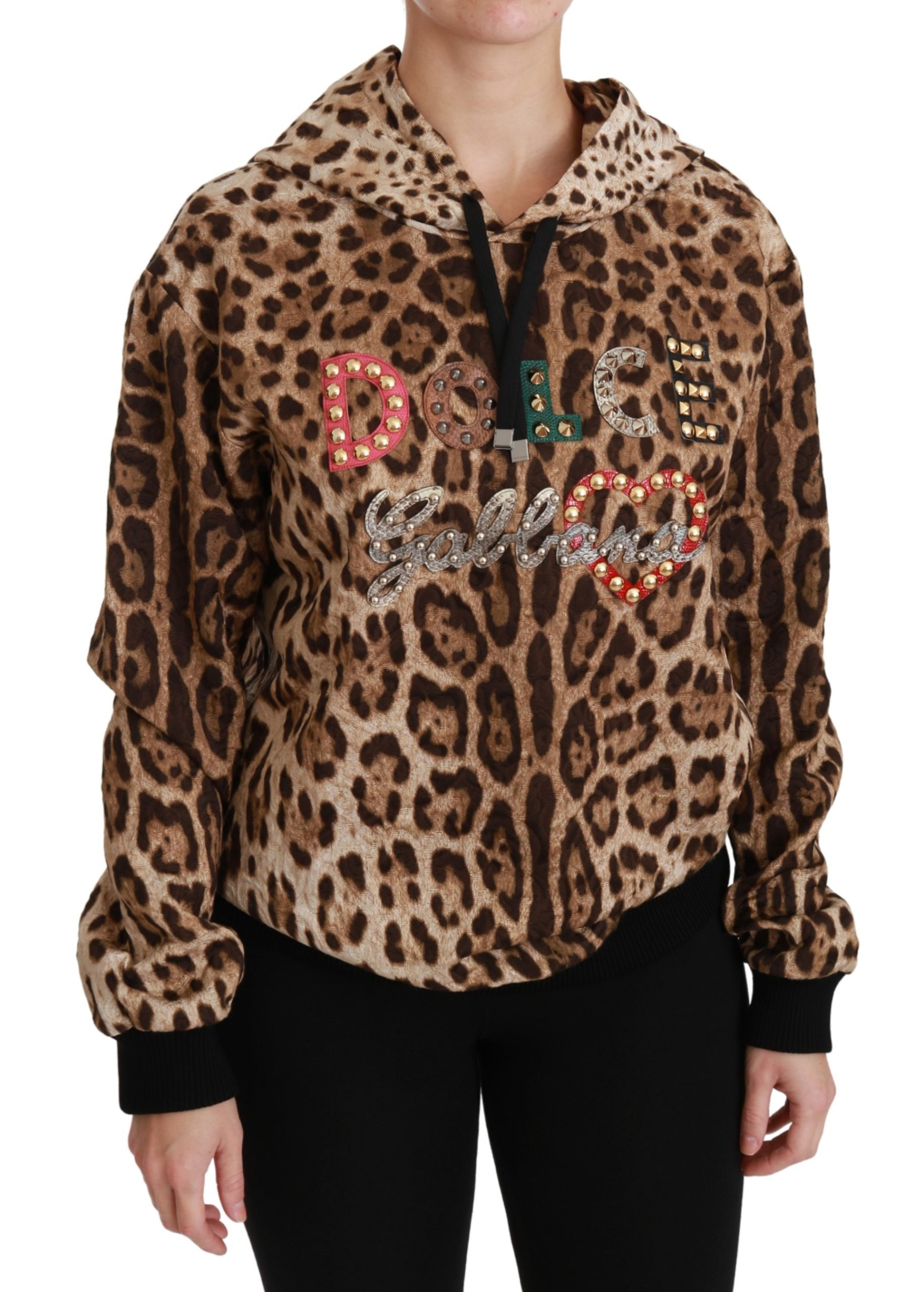 Dolce & Gabbana Women's Hooded Studded Ayers Leopard Sweater Brown TSH4420 - IT36 | S