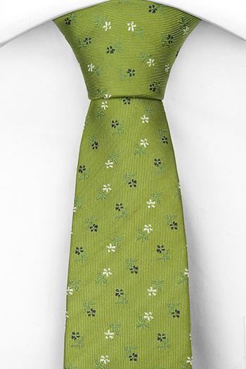 Silke Smale Slips, Munter grønn, små, delikate hvite og blå blomster