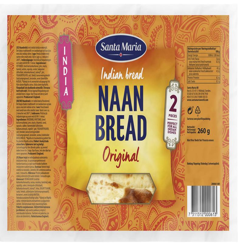 """Bröd """"Naan Bread Original"""" 260g - 28% rabatt"""
