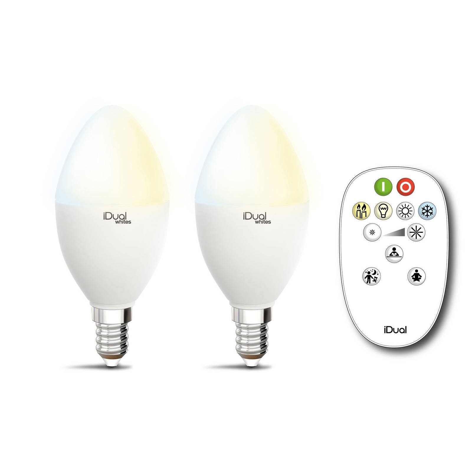 iDual Whites-lamppu E14 P45 5,5W 2 kpl kaukosäädin