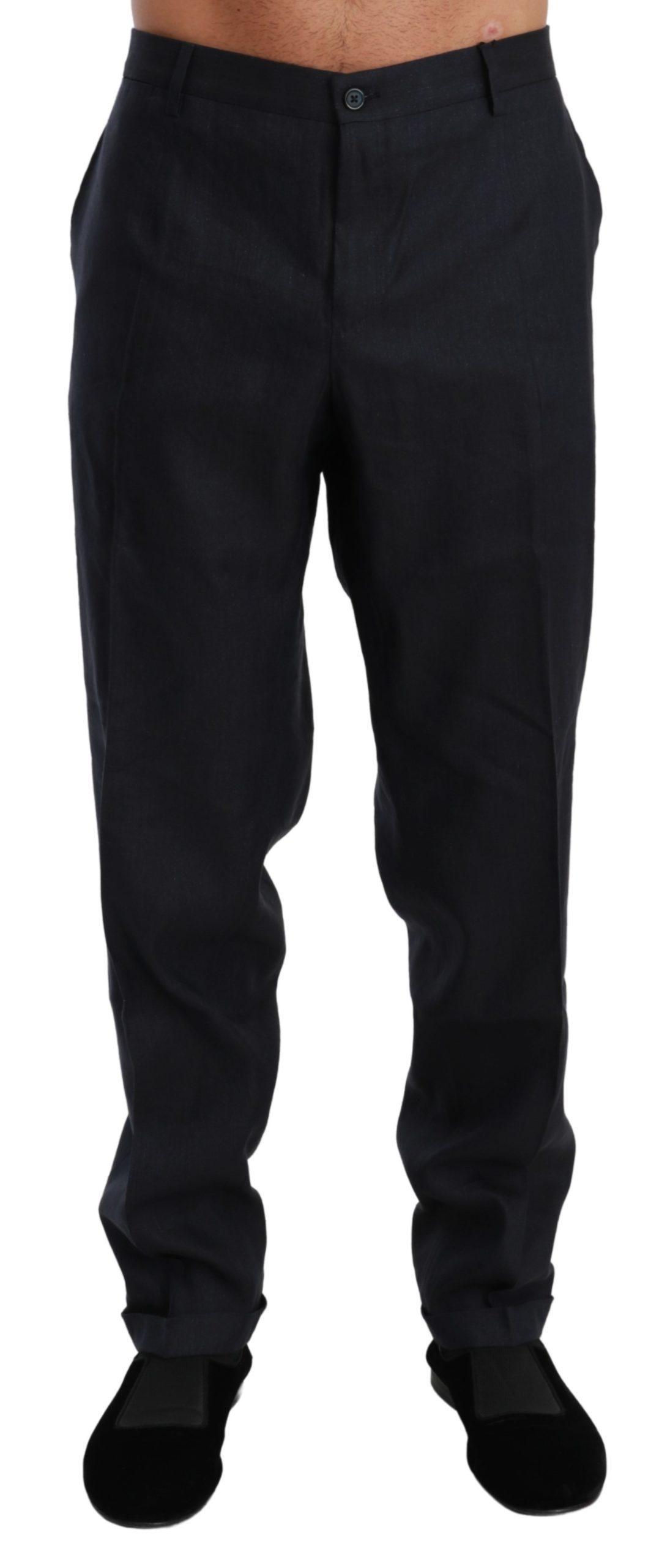 Dolce & Gabbana Men's Linen Silk Dress Trouser Flax Trouser Blue PAN71000 - IT58   XXL