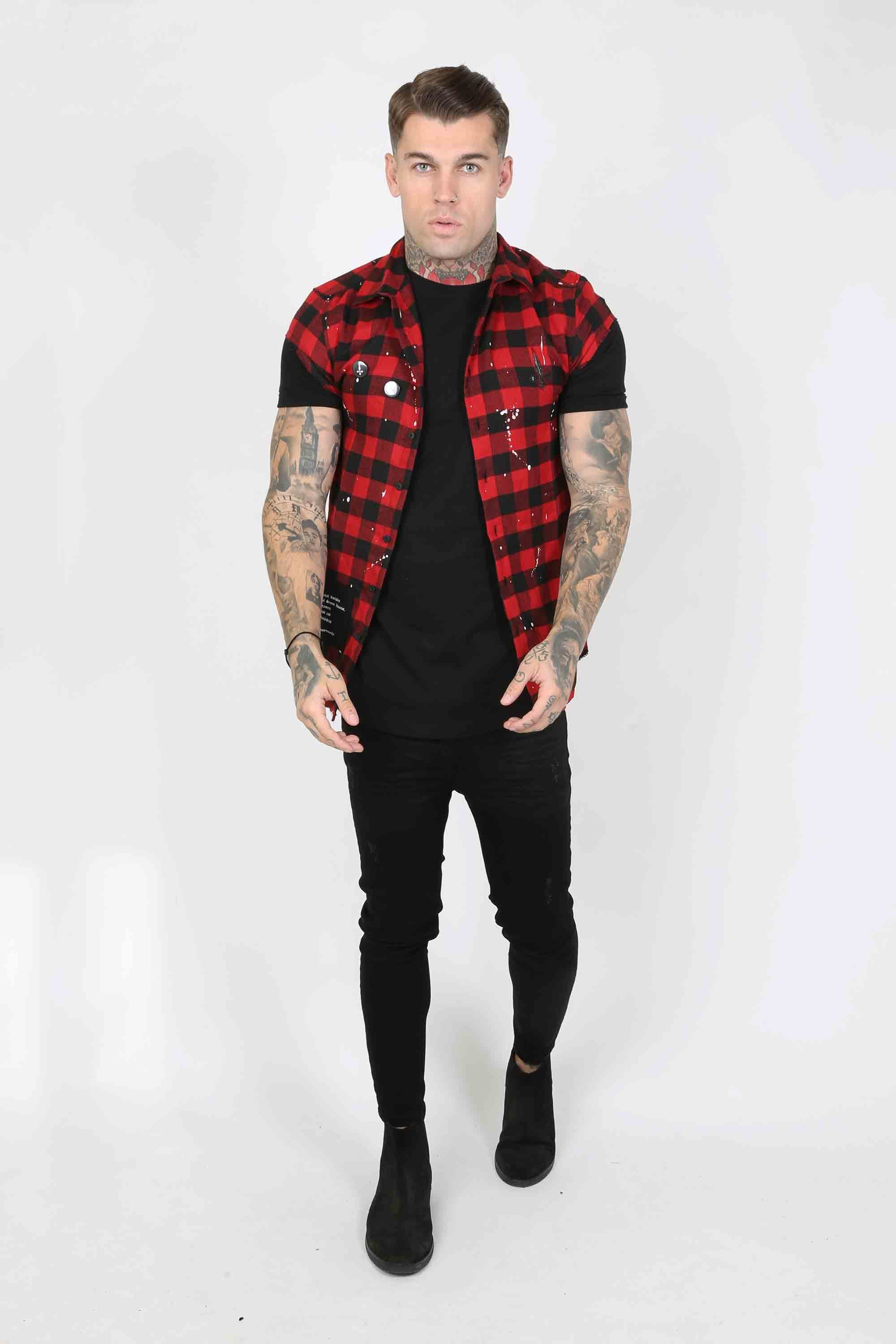 Punked Plaid Men's Overshirt - Red, Small