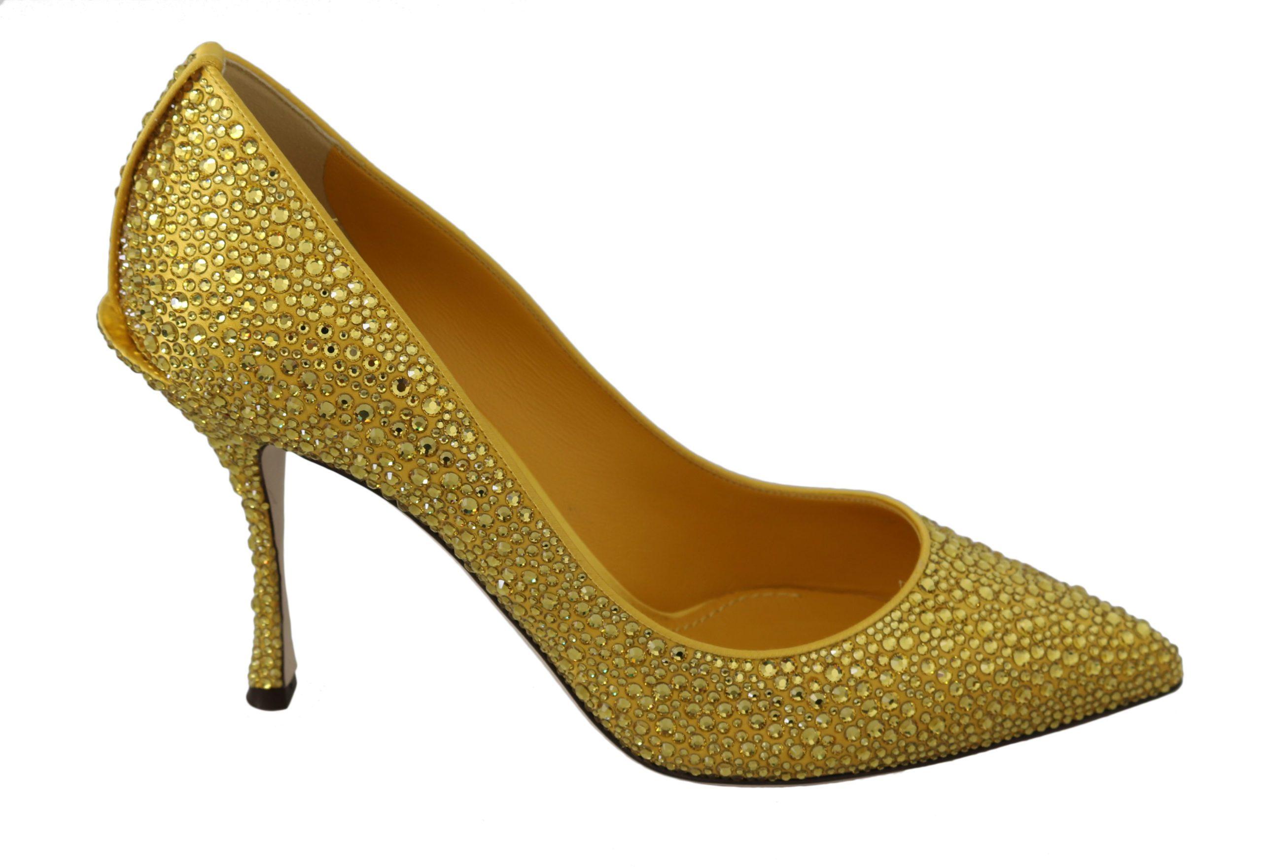 Dolce & Gabbana Women's Crystals High Pumps Yellow LA7458 - EU40/US9.5