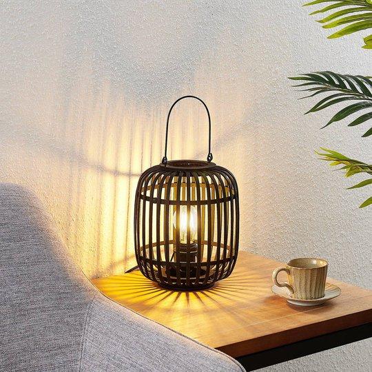 Lindby Canyana -pöytälamppu rottinkia, musta