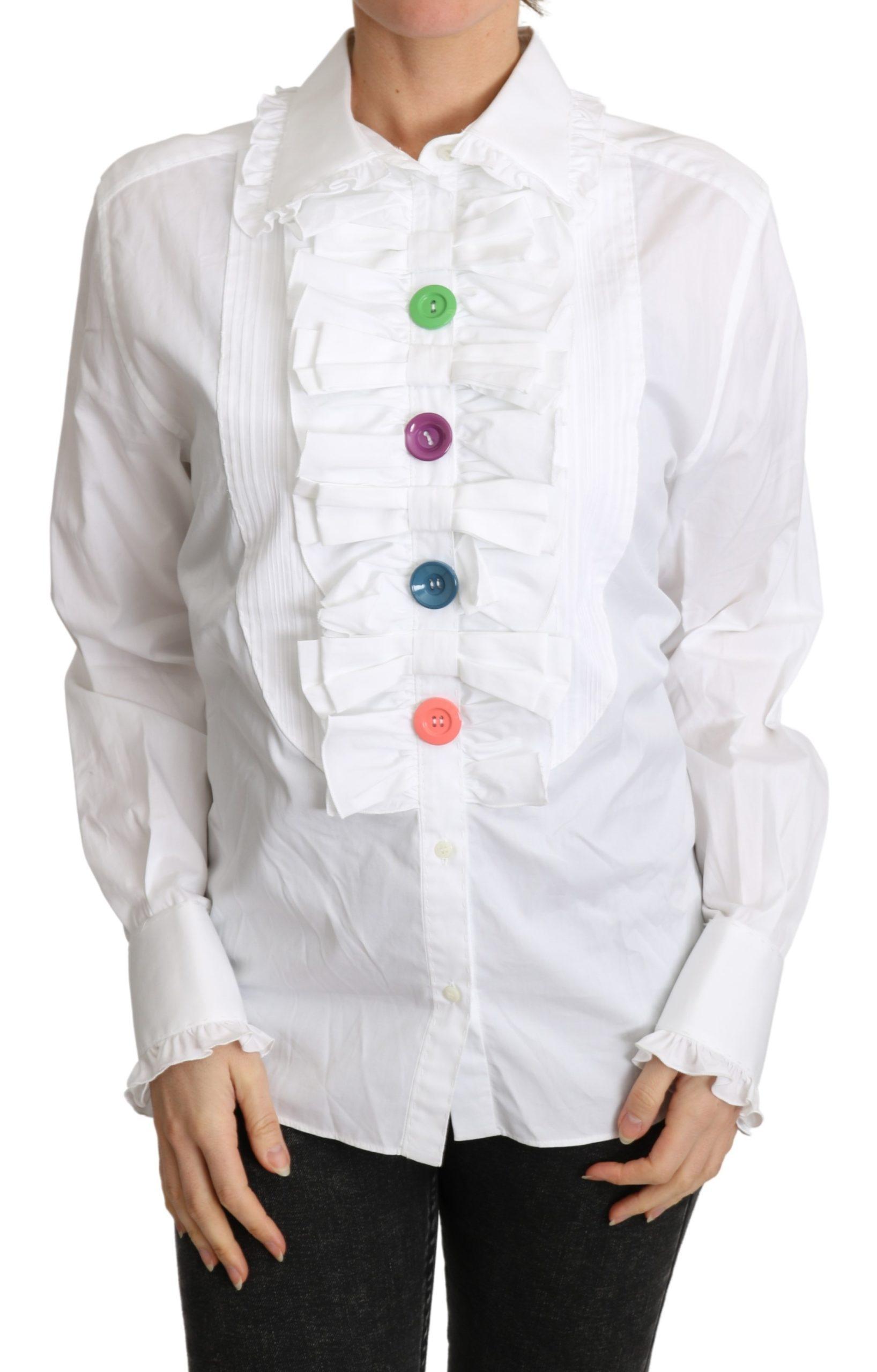 Dolce & Gabbana Women's Ruffle Long Sleeves Top White TSH4832 - IT46|XL