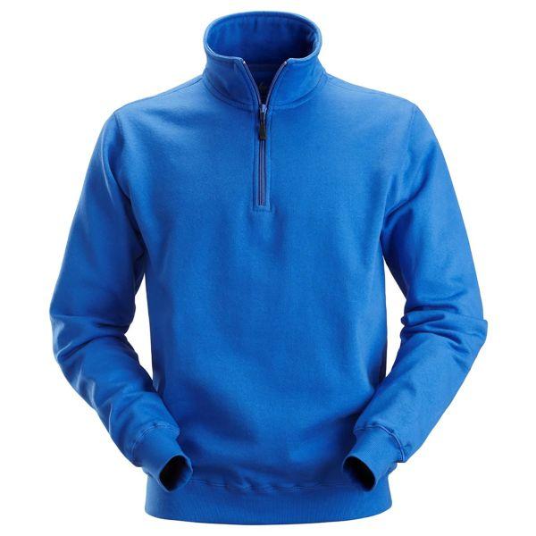 Snickers 2818 Sweatshirt klarblå, kort glidelås XS