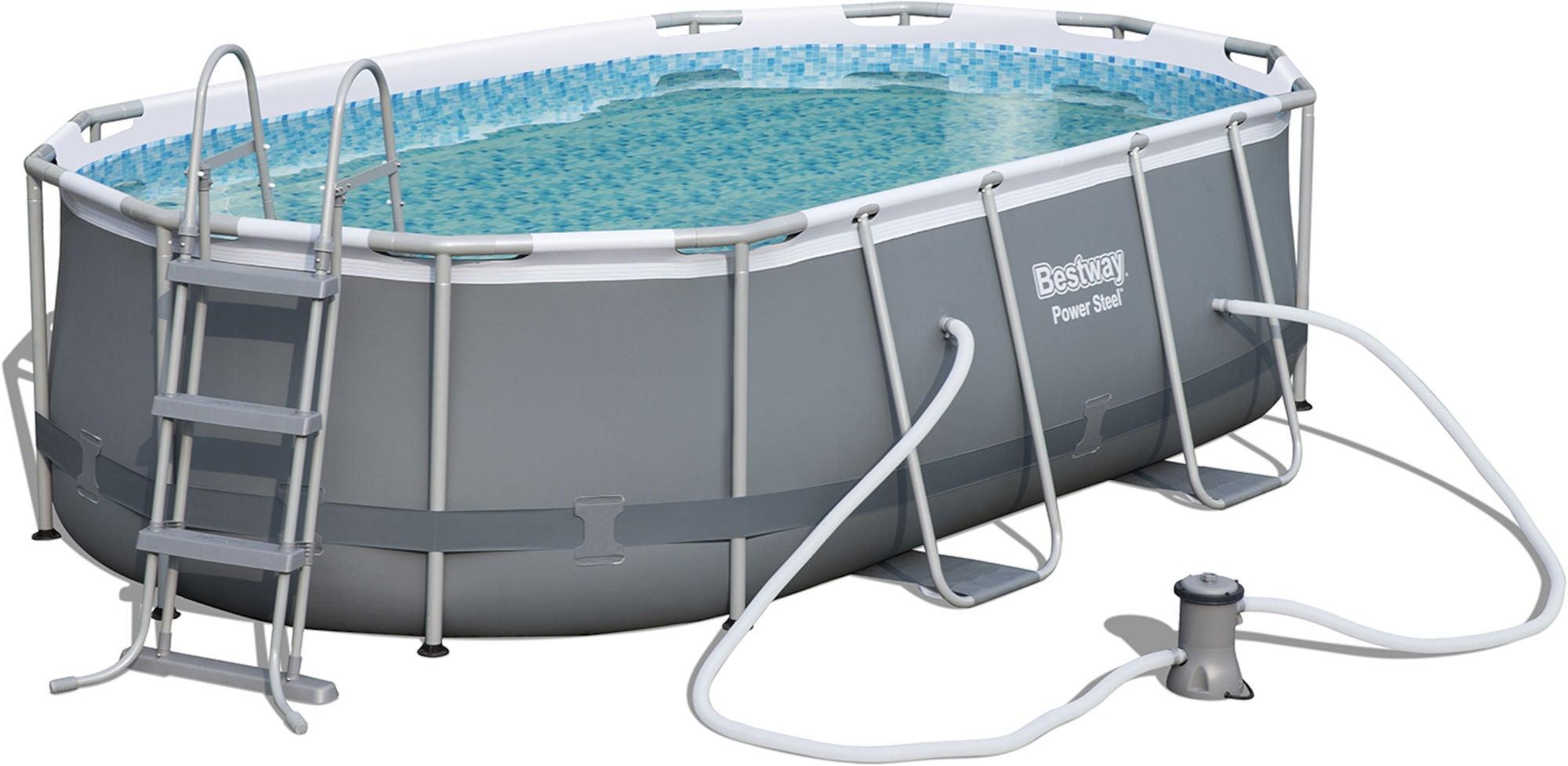 Bestway Power Steel Oval Pool m. Tillbehör 424 x 250
