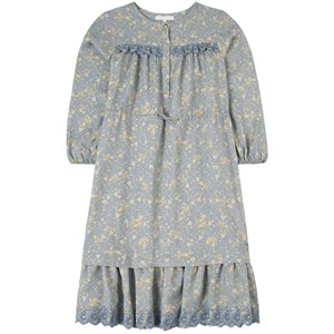 Chloé Blue Art Deco Print and Embroidered C Dress with Pearl Buttons 6 år