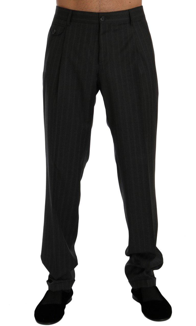Dolce & Gabbana Men's Striped Wool Stretch Formal Trouser Gray PAN60350 - IT50 | L