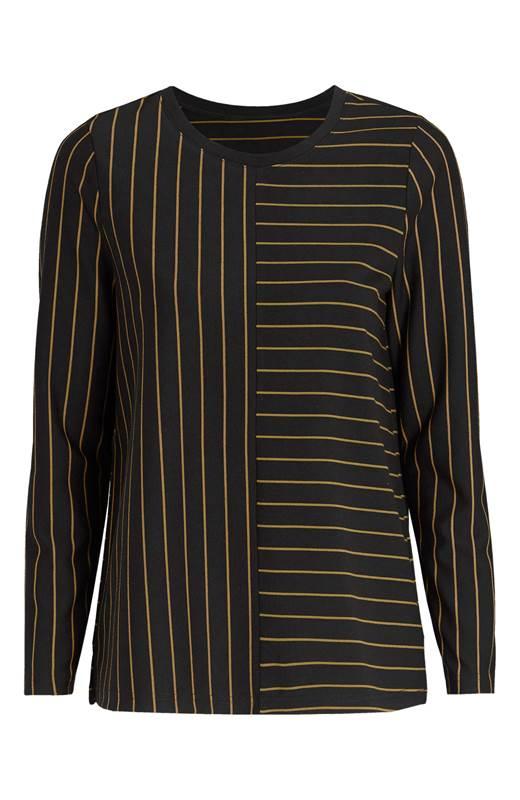 Cellbes Randig tröja med långa ärmar Svart Randig