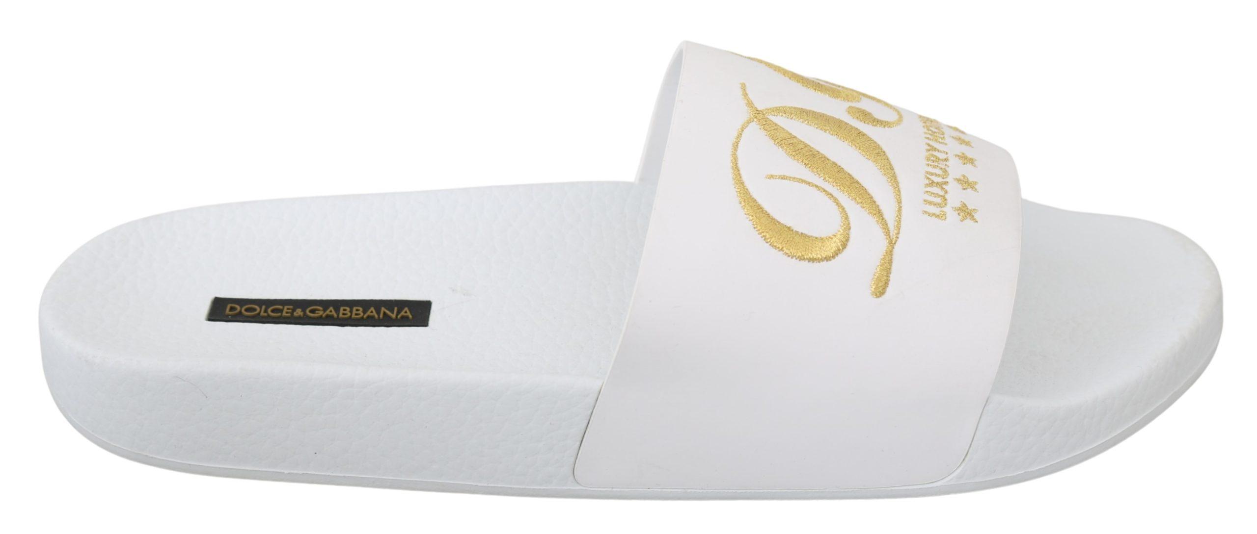 Dolce & Gabbana Women's Leather Luxury Hotel Slipper White LA7109 - EU41/US10.5