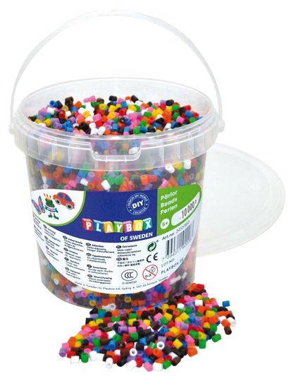 Playbox Rørperler 10 Farger I Bøtte 10000 Stk