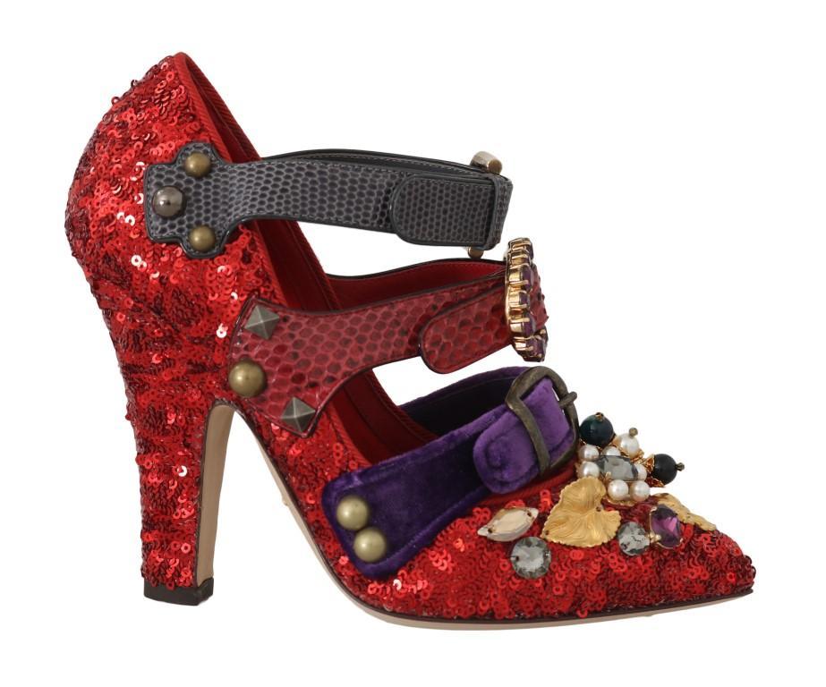 Dolce & Gabbana Women's Sequined Crystal Studs Heels Shoes Red LA5364 - EU36/US5.5