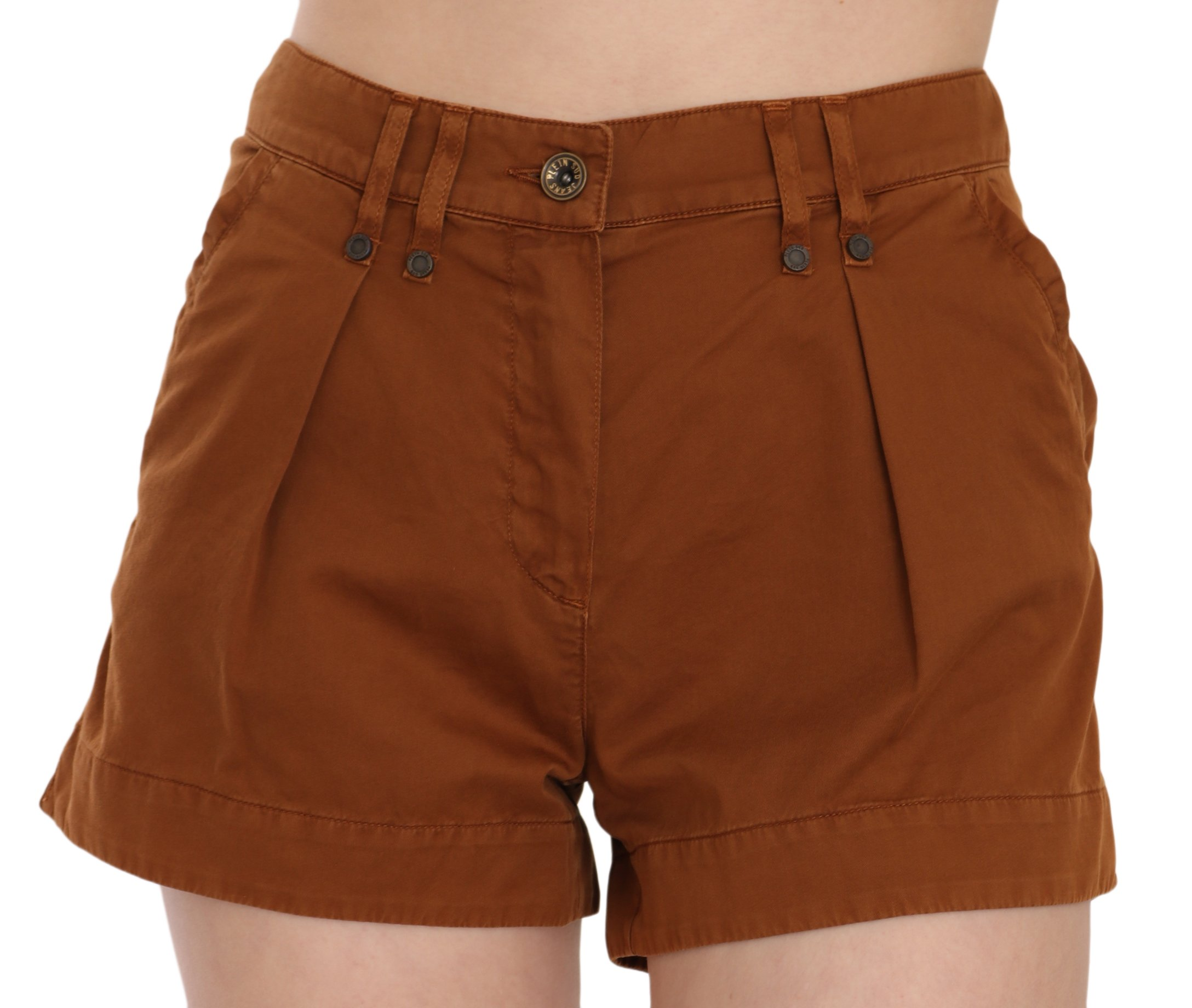 PLEIN SUD Women's Mid Waist Cotton Denim Mini Shorts Brown PAN70250 - IT38|XS