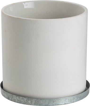Krukke med sinkfat 12 cm – Hvit