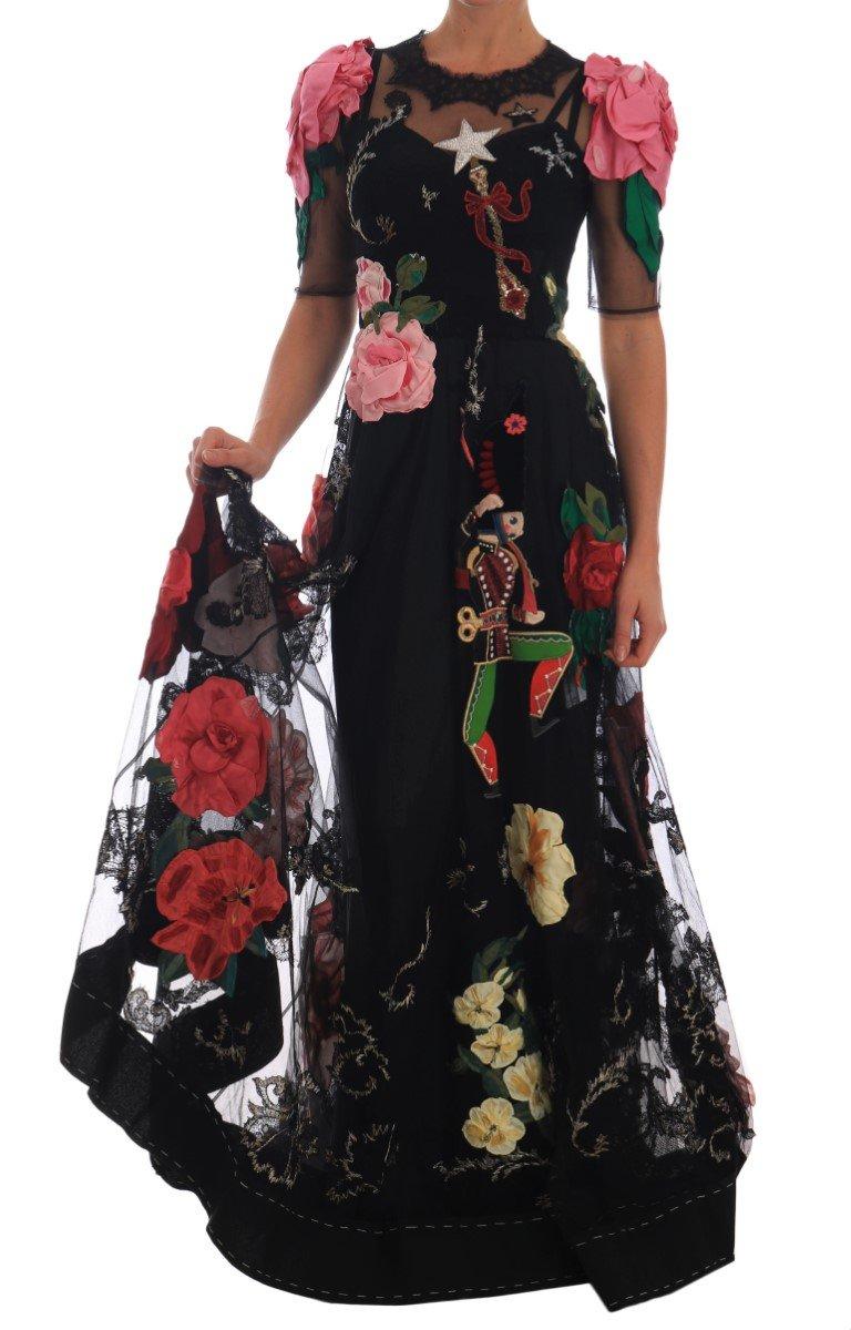Dolce & Gabbana Women's Crystal Fairy Tale Gown Dress Black DR1406 - IT38 | S