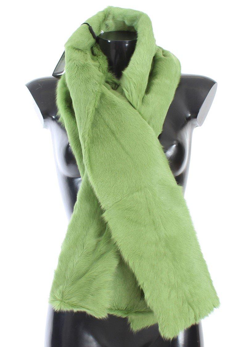 Dolce & Gabbana Women's Goat Fur Long Scarf Green MS1577