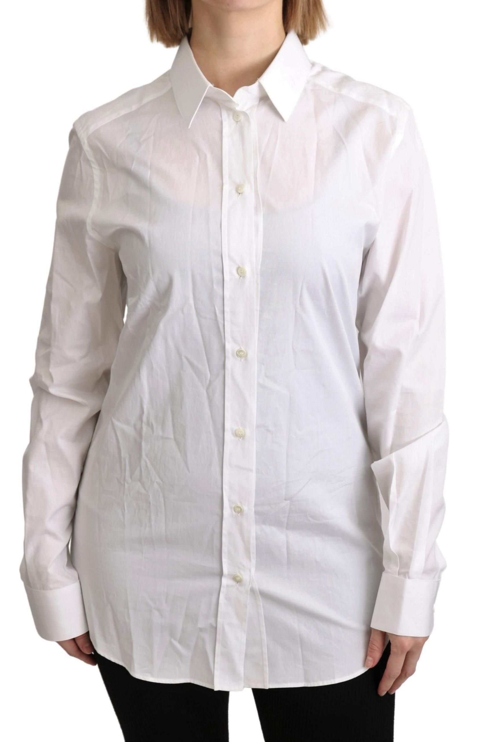 Dolce & Gabbana Women's Collared Formal Cotton Shirt White TSH4602 - IT36 | XS