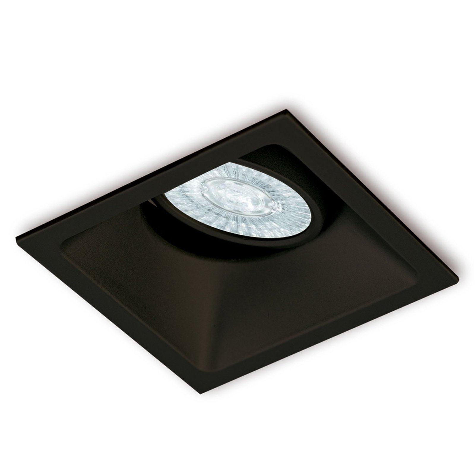 Comfort innfellingslampe, kantet, matt svart
