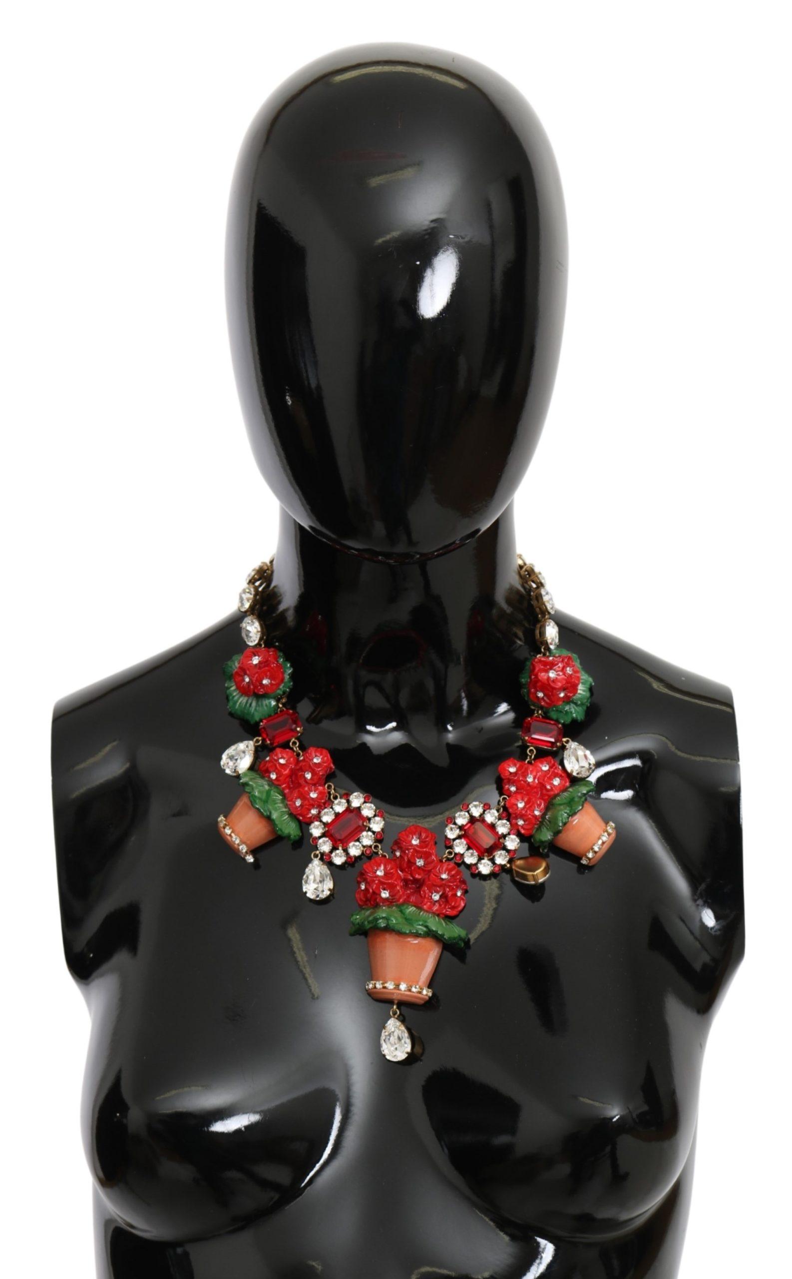 Dolce & Gabbana Women's Flower Vase Brass Crystal Strass Necklace Red SMY10078