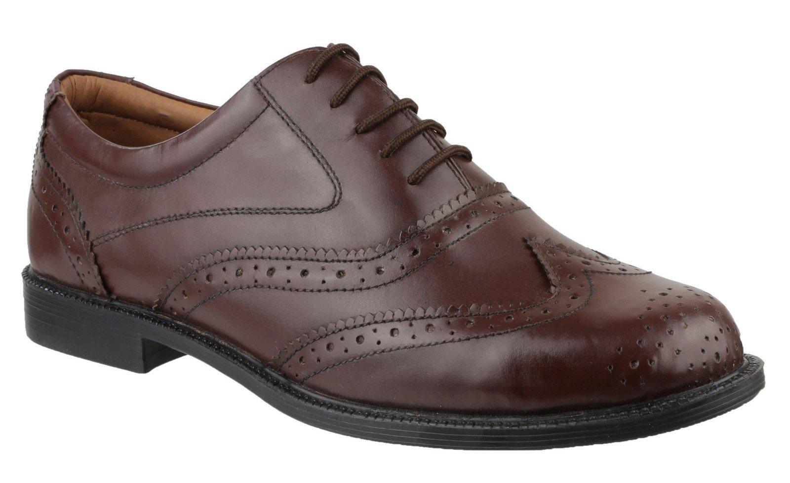 Amblers Men's Liverpool Oxford Brogue Black 11762 - Brown 6