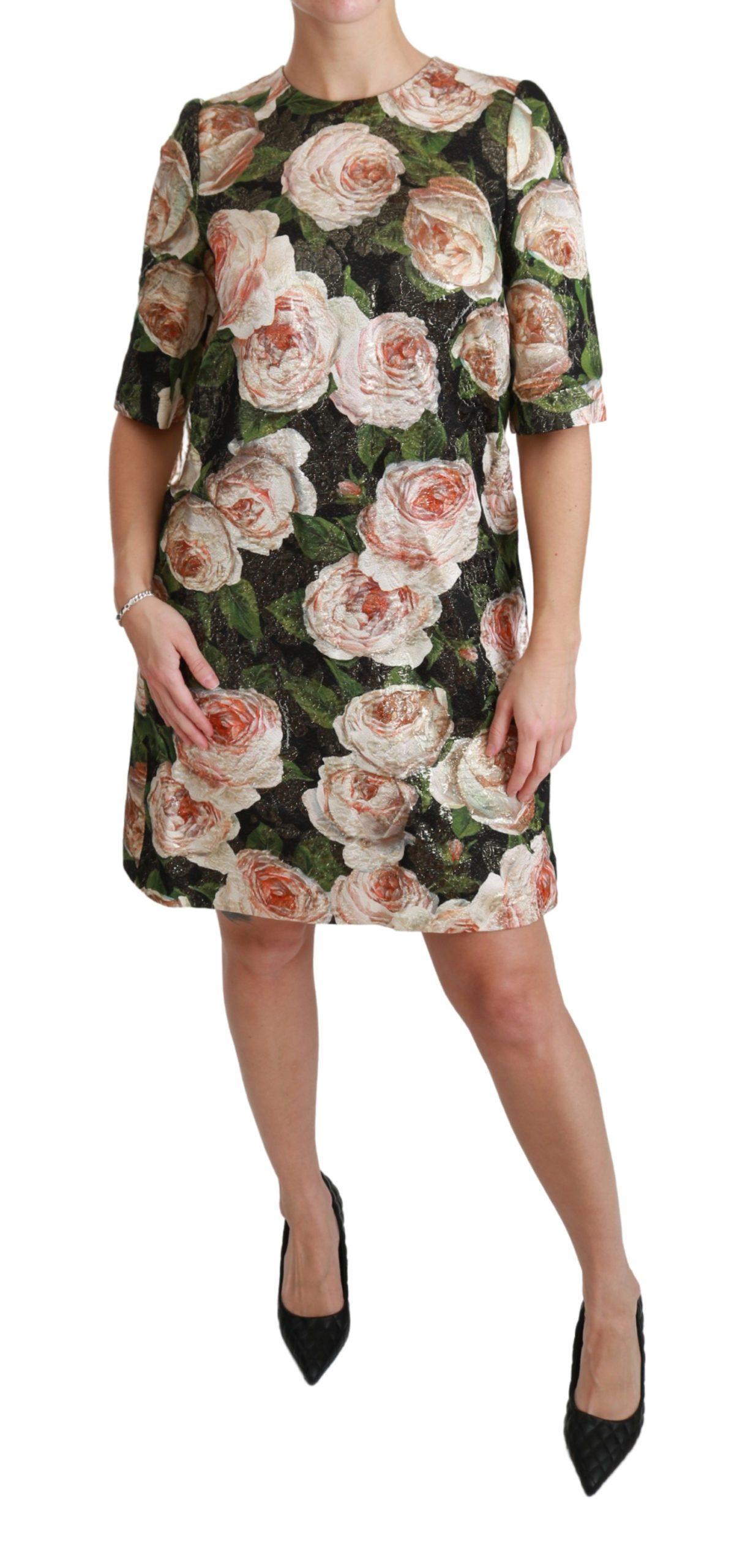 Dolce & Gabbana Women's Roses Flora Shift Mini Dress Black DR2475 - IT42|M