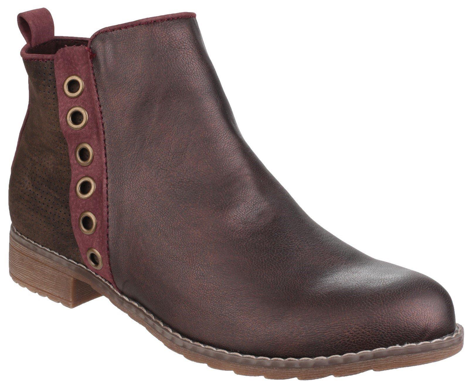Divaz Women's Demi Pull On Ankle Boot Brown 24274-40026 - Burgundy 3