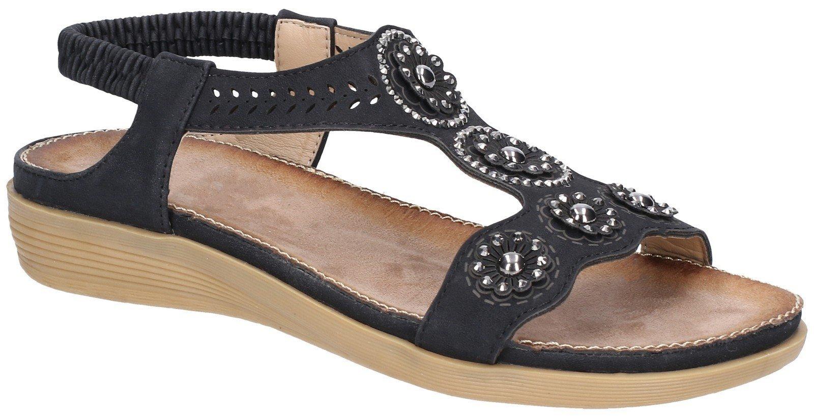 Fleet & Foster Women's Caper Elastic T-Bar Sandal Various Colours 28281 - Black 3