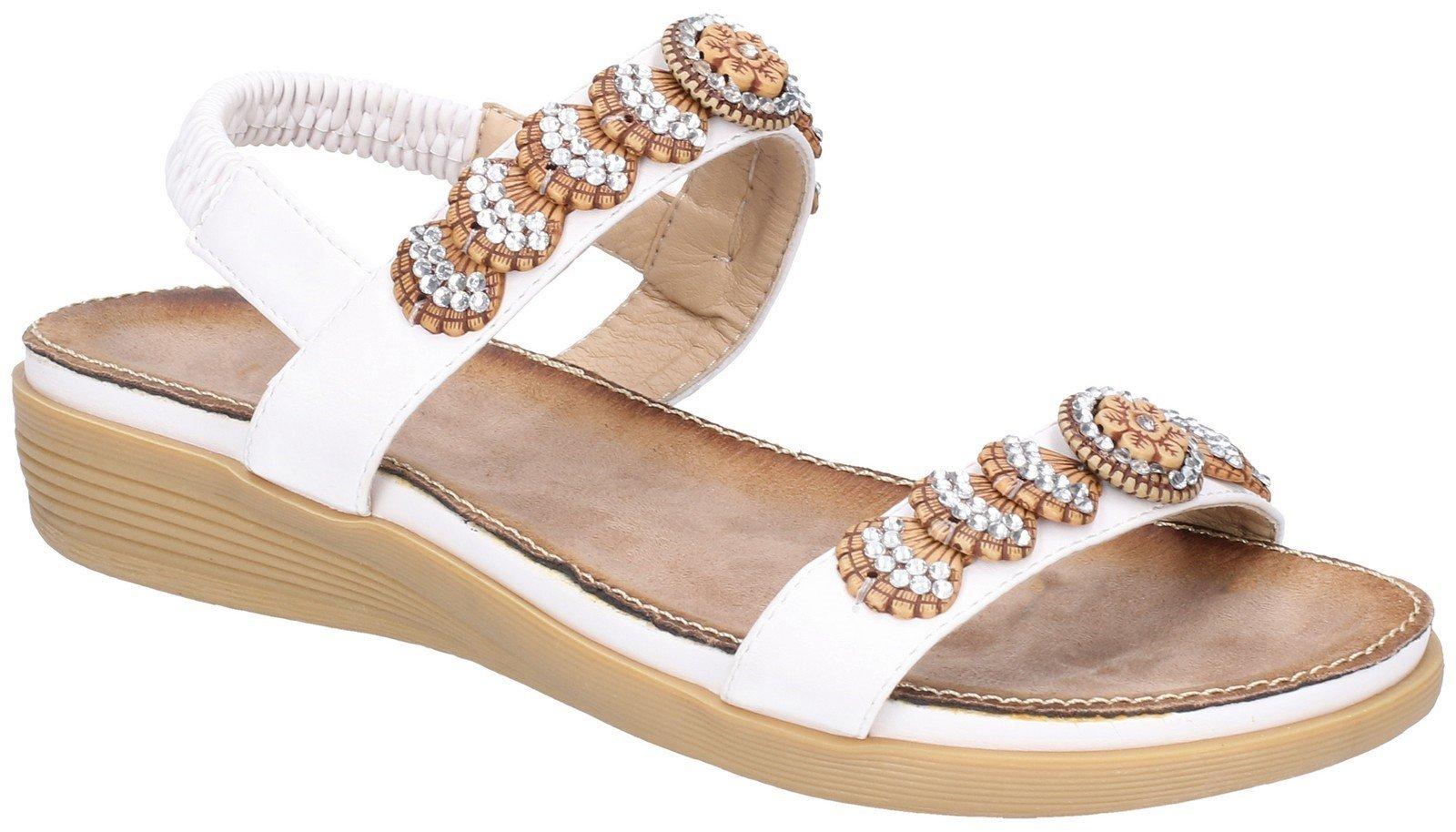 Fleet & Foster Women's Java Elasticated Sandal Various Colours 28280 - White 3
