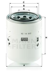 Suodatin, työhydrauliikka MANN-FILTER WD 14 002
