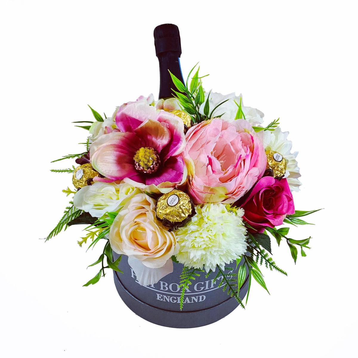 Large Hat Box Floral Display with Prosecco