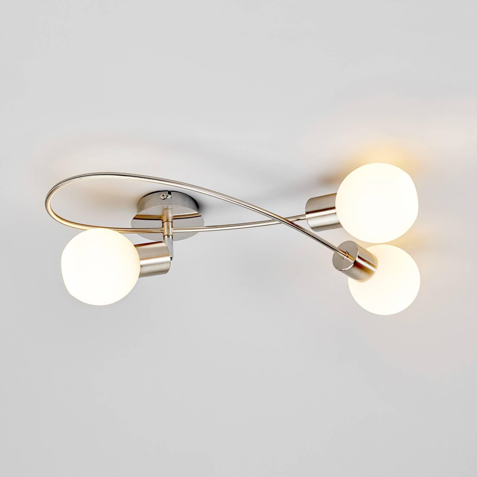 Elegant LED-taklampe Elaina, 3 l, matt nikkel.